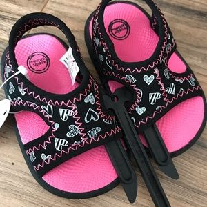 New baby girl's pink and black sandals